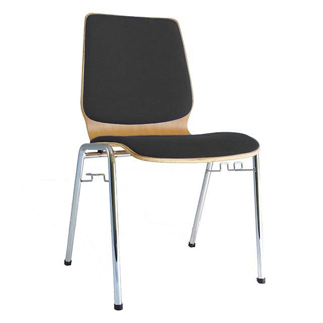 Schalenstuhl DOSITRO, Sitz und Rücken gepolstert, Grau